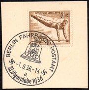 GERMANY BERLIN FAHRBARES POSTAMT 1/08/1936 - OLYMPIC GAMES BERLIN 1936 - FRAGMENT- GYMNASTICS STAMP