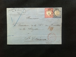Belle Lettre De Strasboug Pour St Etienne Fin 1874 Sous Occupation Allemande Mi-19/20