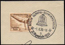 GERMANY BERLIN OLYMPIA-SCHWIMMSTADION 1/08/1936 - OLYMPIC GAMES BERLIN 1936 - FRAGMENT - GYMNASTICS STAMP
