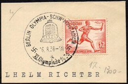 GERMANY BERLIN OLYMPIA-SCHWIMMSTADION 16/08/1936 - OLYMPIC GAMES BERLIN 1936 - FRAGMENT - ATHLETICS STAMP