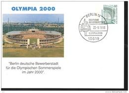 ALLEMAGNE Carte  750 Ans De Berlin 1993 Jo 2000  Berlin 12 Monument Stade Flamme