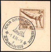 GERMANY BERLIN OLYMPIALAGER HEERSTRASSE 1/08/1936 - OLYMPIC GAMES BERLIN 1936 - FRAGMENT - GYMNASTICS STAMP