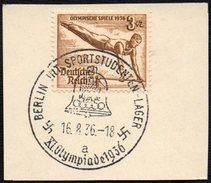 GERMANY BERLIN INT. SPORTSTUDENTEN-LAGER 16/08/1936 - OLYMPIC GAMES BERLIN 1936 - FRAGMENT - GYMNASTICS STAMP