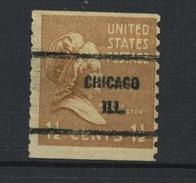 USA : -  PREOBLITERE - N° Yvert 370 SURCH CHICAGO ILL.   (*) - Préoblitérés