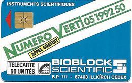 """@+ Télécarte Privée """"Numero Vert - Bioblock Scientific"""" (1989). Ref : D131 - France"""