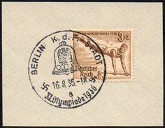 GERMANY BERLIN K.d.F. - STADT 16/08/1936 - OLYMPIC GAMES BERLIN 1936 - FRAGMENT - GYMNASTICS STAMP - Verano 1936: Berlin
