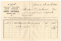 AUDE BELPECH Année 1920 Louis CATHALA Vins Grains Graines Fourrages Pailles FACTURE COURRIER COMMERCIAL - Levensmiddelen