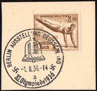 GERMANY BERLIN AUSSTELLUNG DEUTSCHLAND 1/08/1936 - OLYMPIC GAMES BERLIN 1936 - FRAGMENT - GYMNASTICS STAMP