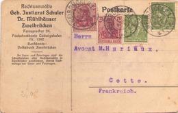 Allemagne Carte à En Tete Du 23 Juillet 1922 De Zweibrucken Pour Cette - Allemagne
