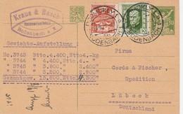 Tchécoslovaquie Entier Postal Pour L'Allemagne 1925