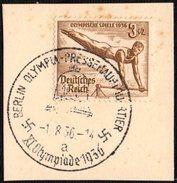 GERMANY BERLIN OLYMPIA-PRESSEHAUPTQUARTIER 1/08/1936 - OLYMPIC GAMES BERLIN 1936 - FRAGMENT - GYMNASTICS STAMP
