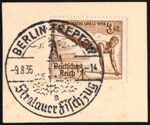 GERMANY BERLIN TREPTOW 9/08/1936 - OLYMPIC GAMES BERLIN 1936 - FRAGMENT - GYMNASTICS STAMP - Verano 1936: Berlin