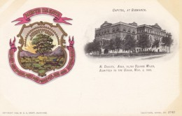 North Dakota State Capitol Building, Bismark ND C1900s Vintage Postcard, Paducah KY Clothing Store Message On Back - Bismark
