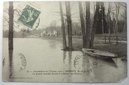 INONDATIONS DE L'YERRES 1910 - LA PRAIRIE INONDÉE DEVANT LE CHÂTEAU DES ROCHES - BRUNOY - Brunoy