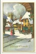 Bonne Année. Village (Belle Epoque) Sous La Neige, Couple, Diligence, Houx, Gui. 1956 Dorée - New Year