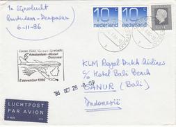 Envelop Luchtpost 23 Okt 1986 Utrecht Biltstraat (CB) Voor Eerste Lijnvlucht Amsterdam Denpasser 6 Nov 1986 - Postal History