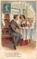 CPA Fantaisie - Illustration Couple Amour Amoureaux Art Nouveau - Carte Gaufrée - Parejas