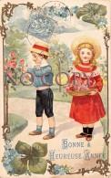 Bonne Heureuse Année - Jardin Fleur Enfants Fille Garçon Roses Myosotis Trèfle Quatre Feuilles Porte Bonheur Art Nouveau - New Year