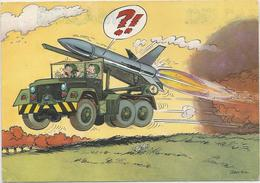 Jeep Porte-lance-missile Allumé. Signé Jean-Pol - Humor