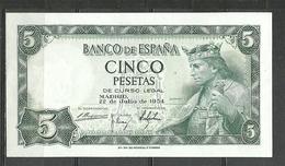 ESPAÑA BILLETE DE 5 Pts. MADRID 22 DE JULIO DE 1954  PLANCHA . - [ 4] 1975-… : Juan Carlos I