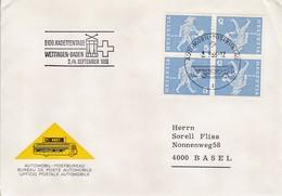 1966 ,   SBK: K45. Mi. K45x.  4er Block Meldeläufer. Eidg. Kadettentage. Automobil - Postbureau - Tête-Bêche