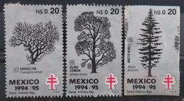 MÉXICO 1994 - 1995. Arboles. Antituberculosis - Cruz De Lorena. USADO - USED - Mexique