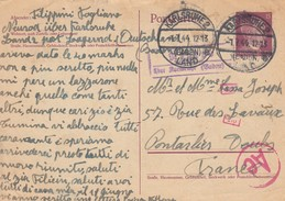 GERMANY. REICH. POSTCARD.   1 7 1944.  ENTIRE 15. KARLSRUHE TO PONTARLIER. GERMAN CENSOR - Lettres & Documents