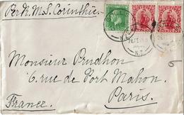 LCTN47/5 - N.LLE ZELANDE LETTRE PAR BATEAU CORINTHIE 26/2/1924 - Covers & Documents