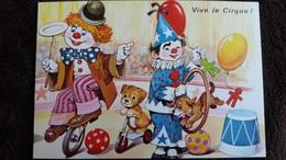 CPM VIVE LE CIRQUE  CLOWNS EQUILIBRISTE VELO  CHIEN  BALLONS CERCEAU SERIE 5556 4/3 - Zirkus