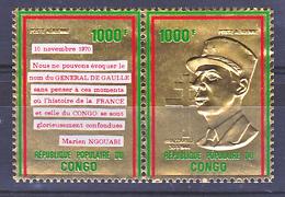 Congo PA 135 136 Hommage Au Général De Gaulle Timbre En Or Neuf ** TB MNH SIN CHARNELA  Cote 58 - De Gaulle (Général)