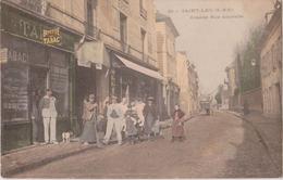 SAINT-LEU (S. & O.) - Grande Rue Nouvelle - Personnages Devant Le Tabac - Buvette, Epicerie Du Centre ( Carte Animée ). - Saint Leu La Foret