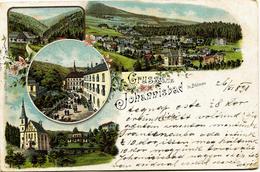 12701 -  Austria - GRUSS JOHANNISBAD In BÖHMEN  - Du 26/06/1898  Lithographie 19éme - Österreich