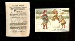 Chromo Poulain/Progrès - Paysage D'hiver 3 Enfants, énorme Boule De Neige, Récolte Du Houx - Poulain