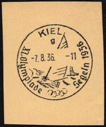GERMANY KIEL 13/08/1936 - OLYMPIC GAMES BERLIN 1936 - SAILING - TYPE G - FRAGMENT WITHOUT STAMP