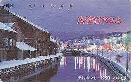 RARE Télécarte Ancienne Japon / NTT 430-056 - Maisons Sous La Neige & Fleuve - Winter Landscape JAPAN  Phonecard