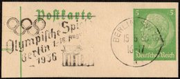 GERMANY BERLIN 1936 - OLYMPIC GAMES BERLIN 1936 - MECHANICAL CANCELLATION FRAGMENT