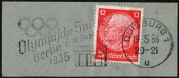 GERMANY DUISBURG 1936 - OLYMPIC GAMES BERLIN 1936 - MECHANICAL CANCELLATION FRAGMENT