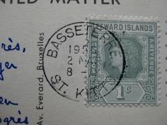 STAMPS ANTIGUA 1956 ON POSTCARD - LEEWARD ISLANDS 1c - Antille