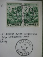 TIMBRES ARCHIPEL COMORES 1957 SUR CARTE POSTAL - Non Classificati