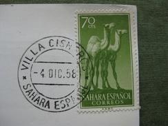 STAMP SAHARA ESPANOL 1958 ON POST CARD - Interi Postali