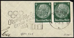 GERMANY GERA 1936 - OLYMPIC GAMES BERLIN 1936 - MECHANICAL CANCELLATION FRAGMENT