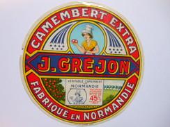 A-50127 - étiquette De Fromage CAMEMBERT J. GREJON -  NEHOU Manche 50D - Cheese