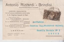 Regno 30/11/1933  Pubblicitaria  Brindisi  A. Rizzardi  Pugliese Cementi Per Lecce  Gg - Marcophilie