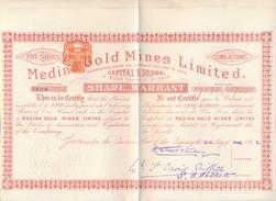 Action Medina Gold Mines Limited ( Share Warrant ) 5 Action Au Porteur ( Complet Avec Ses Coupons ) - Mines
