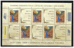 ITALIA REPUBBLICA ITALY 2009 FESTIVAL DELLA FILATELIA LINGUA ITALIANA DANTE VIRGILIO BLOCCO FOGLIETTO BLOCK SHEET MNH - 6. 1946-.. Repubblica