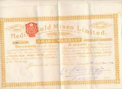 Action Medina Gold Mines Limited ( Share Warrant ) 25 Action Au Porteur ( Complet Avec Ses Coupons ) - Mines