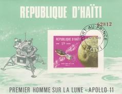 REPUBLIQUE D'HAÏTI- BLOC PREMIER HOMME SUR LA LUNE APOLLO 11  / OBLITERATION PORT AU PRINCE OCT 69   / 6626 - Space