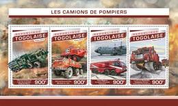 TOGO 2016 SHEET FIRE ENGINES CAMIONS DE POMPIERS FIRE TRUCKS FIREFIGHTERS CAMIONES DE BOMBEROS Tg16505a - Togo (1960-...)