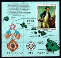 1978  James Cook - Map Of Hawai Islands   - Souvenir Sheet ** - Paraguay