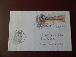 Lettre Premier Jour Circulé Le 4/4/2008 Le N° 4171 Passerelle Saint Georges Cachets Illustrés Eglise Saint Jean Lyon  TB - Ponts